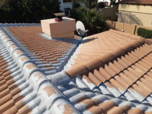 Ridge, valleys and flashing waterproofed with membrane